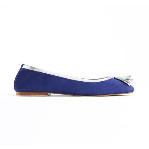 SUNYI TASSLE FLATS in Blue Suede/Silver Napa Leather Trim for Winter 14 Jodilee. Available sizes 36-42 www.jodilee.com.au Facebook: JodiLee Instagram: jodileedesigns