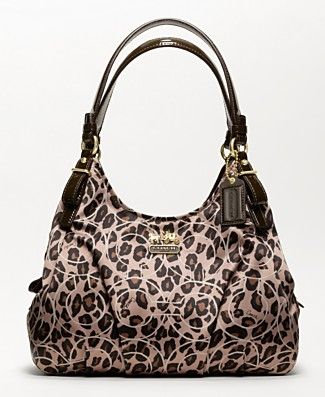 Coach inLeopard, grrrrr $298. at Macys comes in blk/grey, also #Coach #leopard #handbags