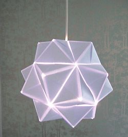 Origami lamp.  Not sure I can make this, but it's worth a try.  Directions in German.