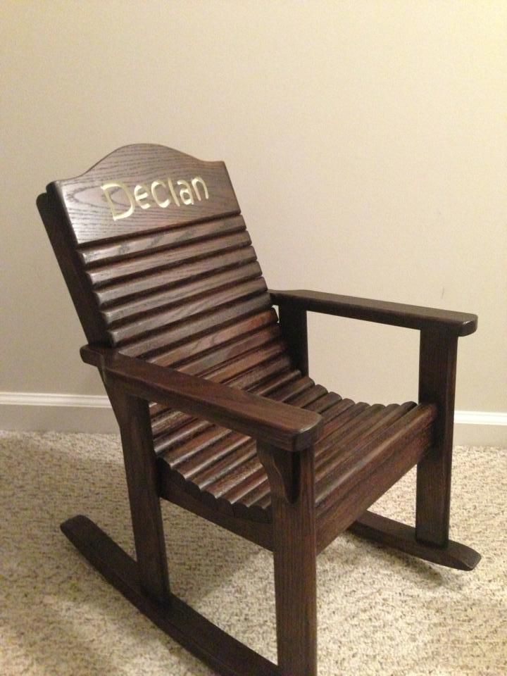 Adorable (Hand Made Solid Wood) Personalized (hand Carved) Childrens  Rocking Chair