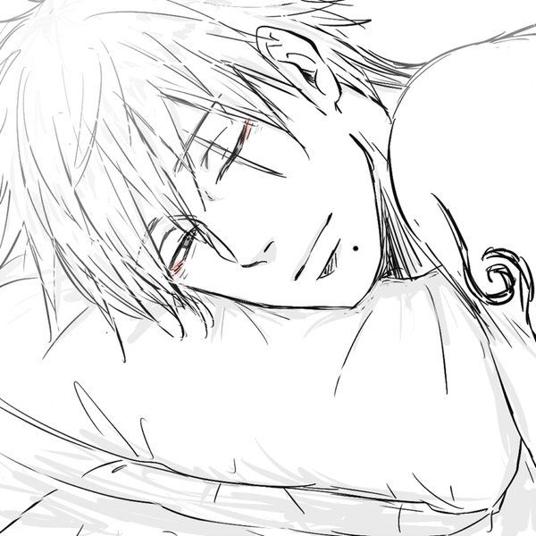 Kakashi without a shirt or mask in bed. <3