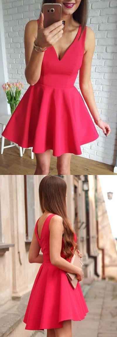 A-Line V-Neck Sleeveless Short Red Satin Homecoming Dress
