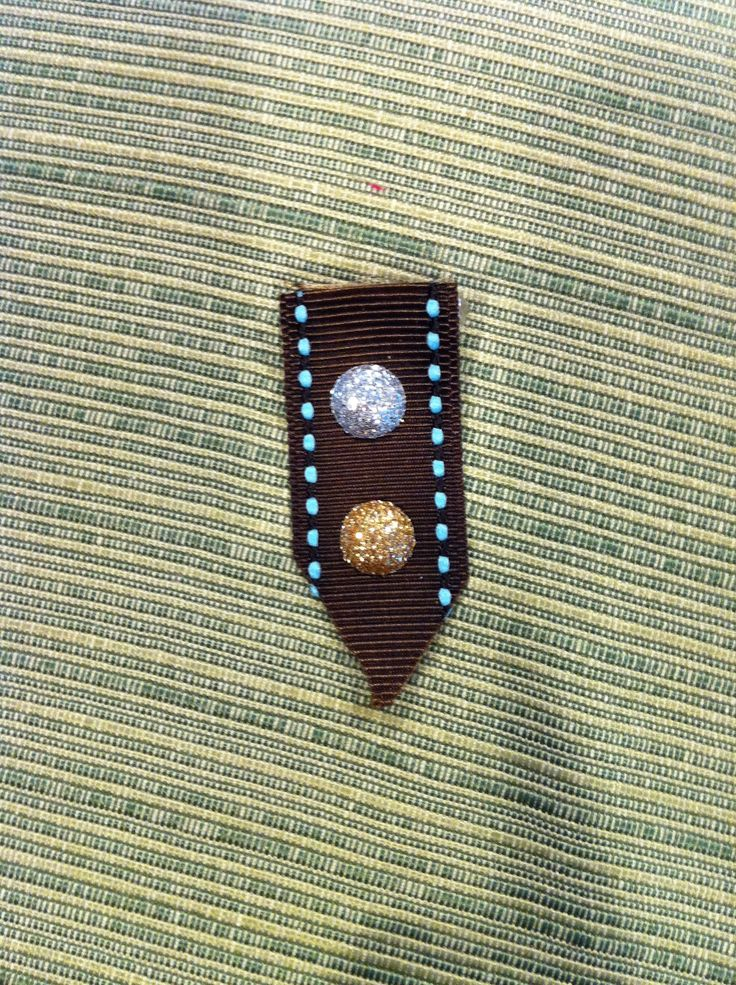 """Girl Scout Brownie Swap made with ribbon. Paired up with the silver & gold theme from """"Make New Friends."""" Love this!"""