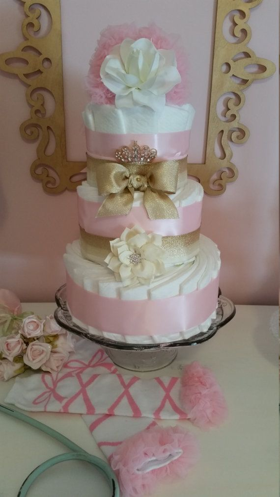 Tiara Diaper Cake Pink and Gold Headband Tulle by ItsUpInTheAttic
