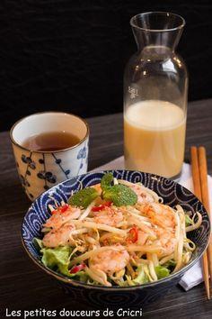 Salade chinoise aux crevettes et sa vinaigrette sucrée