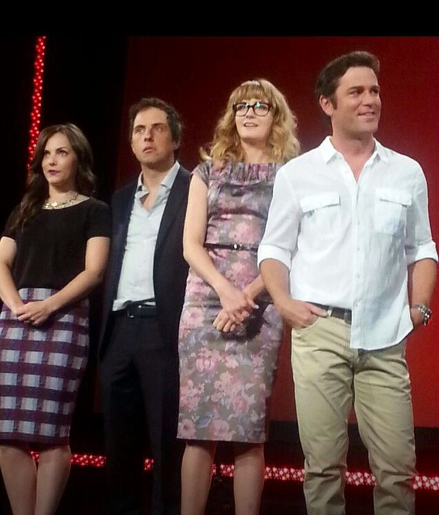 Murdoch Mysteries cast ( Georgina Reilly, Jonny Harris, Hélène Joy and Yannick Bisson)