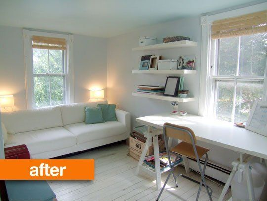 Before after christina 39 s tiny bedroom to bright office for Small room office