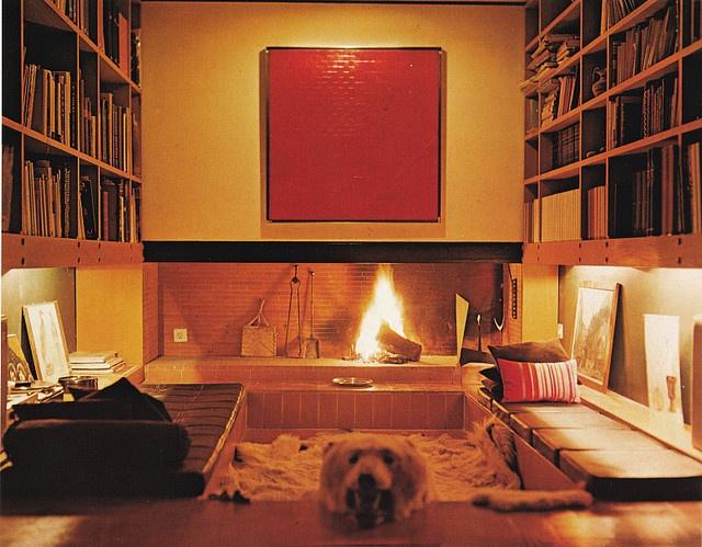 Bear Skin Rug And Fireplace Conversation pit - cir...