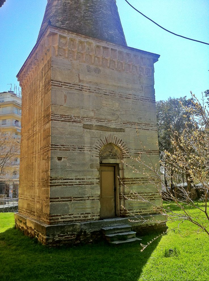 The base of the Rotunda minaret, the only one of Thessaloniki that was not destroyed in 1923. Rotunda was converted into a mosque in 1591 and remained one since the liberation of the city in 1912. (Walking Thessaloniki, Route 04 - Galerius)
