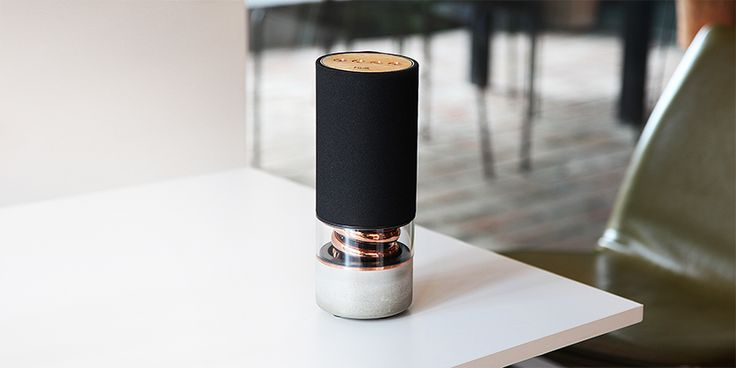 pavilion speaker by hult design unifies acoustic needs with copper and concrete details