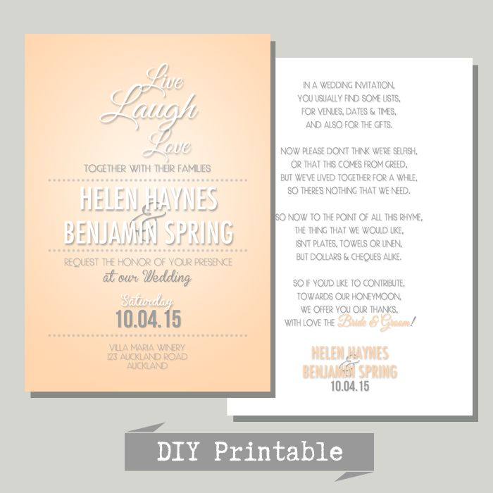 Let us customise your own Wedding Invitation | DIY Printable | All affordable | For Weddings & paper design on a budget | hello@myweddinginvite.co.nz | #weddinginvitation www.myweddinginvite.co.nz