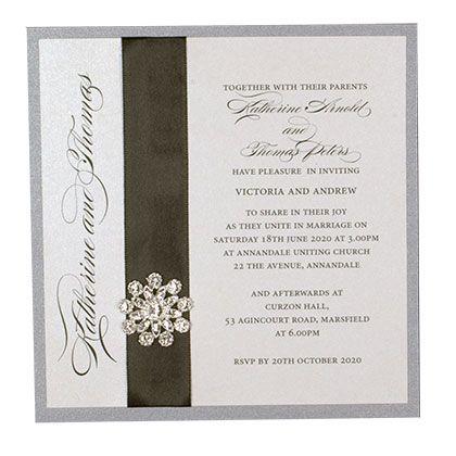 Layered Square Wedding Invitation With  Ribbon And Starburst Diamante - www.kardella.com