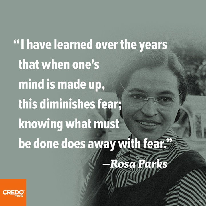 Jumping off the diving board is definitely a sticking point - Done with fear (Rosa Parks).