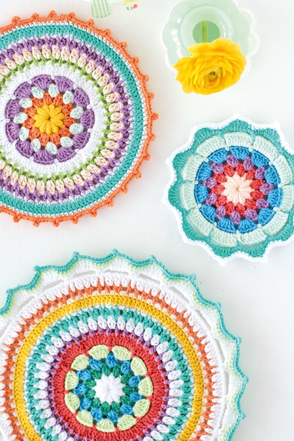 Colourful crochet mandala