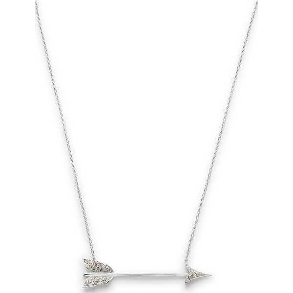 Estella Bartlett Cubic Zirconia Arrow Necklace ($115) ❤ liked on Polyvore featuring jewelry, necklaces, silver, cz jewellery, cz necklace, stud necklace, long chain necklace and cubic zirconia jewelry