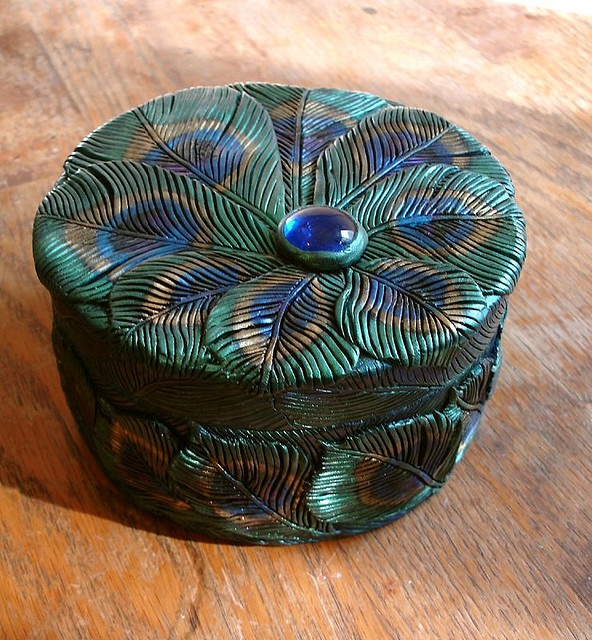 Peacock feather box