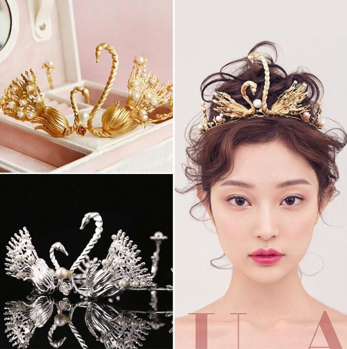 2018 Baroque Swan Wedding Crowns Sparkling Pearls For Women Hair Tiaras Headpieces Bridal Wedding Accessories Hand Made Gold Silver Colors