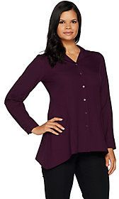 Linea by Louis Dell'Olio As Is Linea by Louis Dell' Olio Wing Collar Blouse w/ Swing Hem