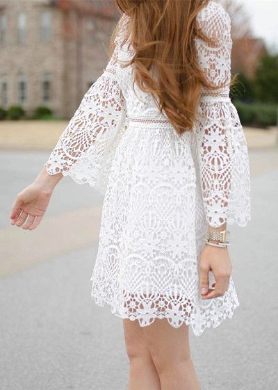 loral Rhapsody Crochet Dress in White featured by themrsgibby