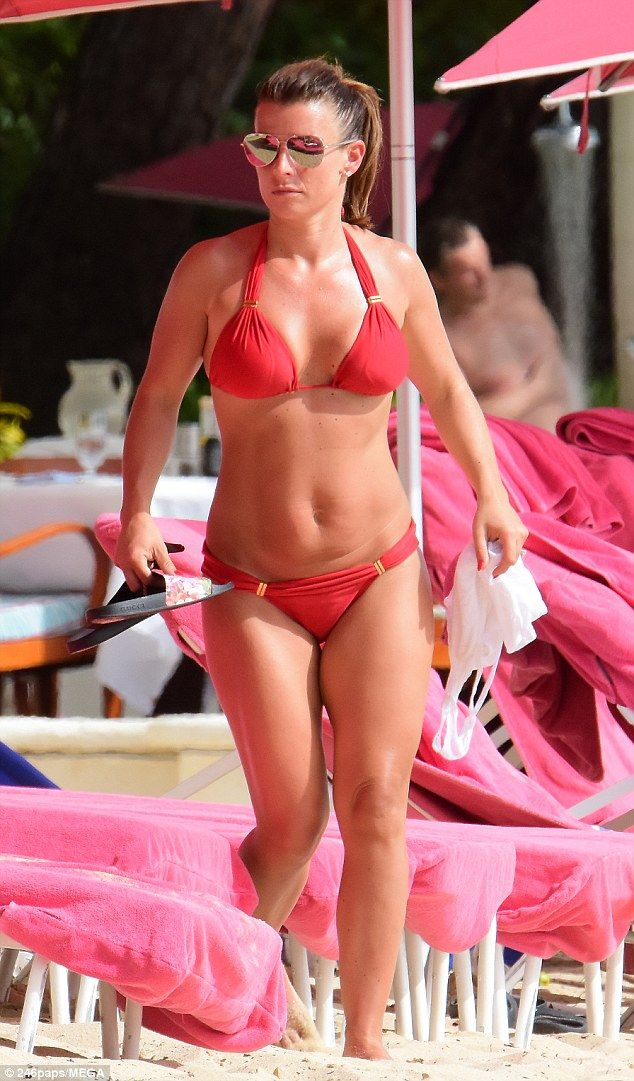 Coleen Rooney in red bikini on the beach in Barbados #dailymail