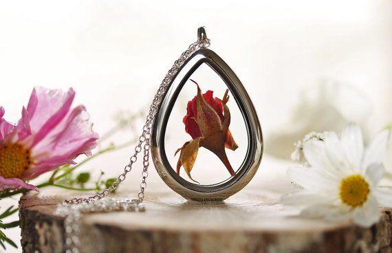 Silberne rose Halskette echte rote rose von RubyRobinBoutique