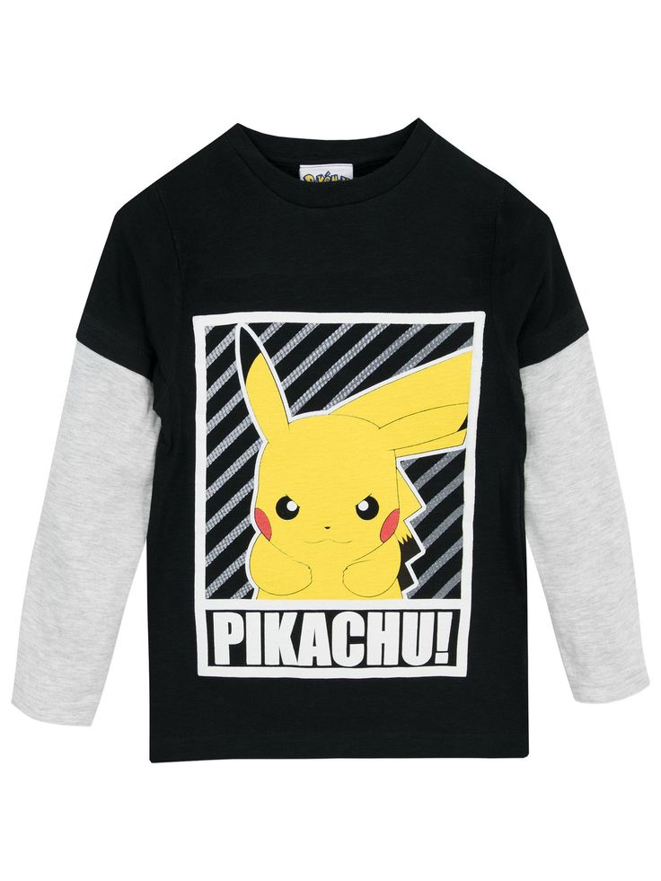 Shop this awesome boys Pokemon long sleeve top in black and grey featuring Pikachu. Available in sizes 3 to 13 Years. Made from soft cotton.