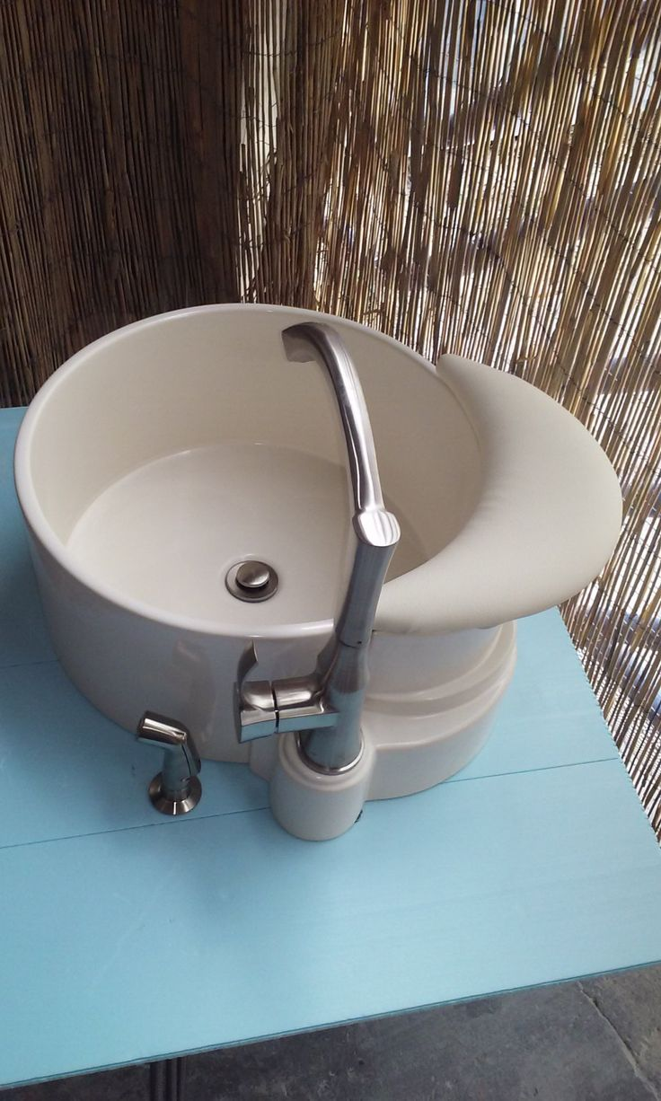 Pedicure sink and faucet combo with foot by PedicureSinkDesign