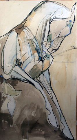 """On top of the hill  59"""" x 31"""", Mixed media on paper"""