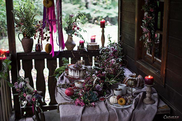 Herbst, violett, pruple decoration, fall, floral deoration, fall decor, cake, Kuchen, floral garland