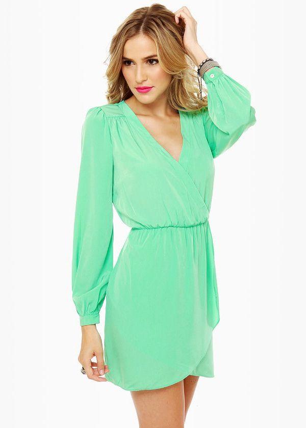 That's a Wrap Long Sleeve Mint Green Dress