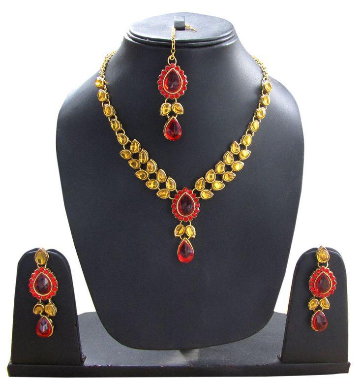 Polki Kundan Designer Artificial stone necklace Jewellery set with earrings #Handmade #Statement #Wedding