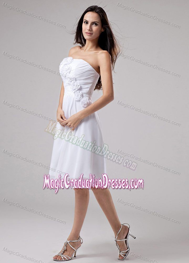 Flowers Strapless Ruched White Chiffon 5th Grade Graduation Dresses