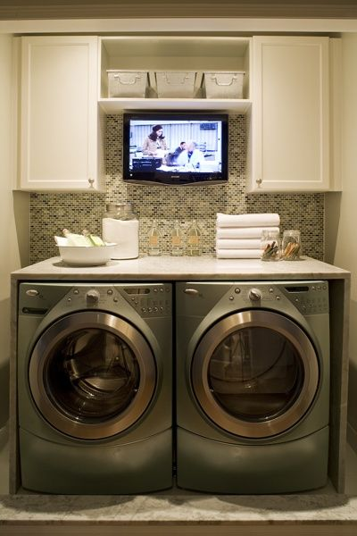 Laundry Room Inspiration! A tv in the laundry room...UMMM YES PLEASE !!!! LOL