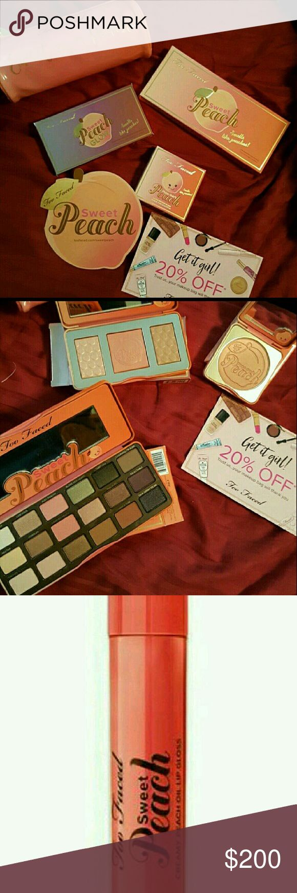 Too Faced Sweet Peach Collection New in boxes authentic from too faced Sweet Peach Collection includes the Sweet Peach pallet, Papa Don't Peach blush, Sweet Peach Glow illuminator, limited edition sweet as a peach makeup bag, peach oil lipgloss and a 20% off your next Too Faced purchase coupon. Too Faced Makeup