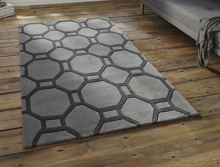 "Modern grey geometric rug 150 x 230cm (4ft'9 x 7ft 5"") -contemporary stylish rug"