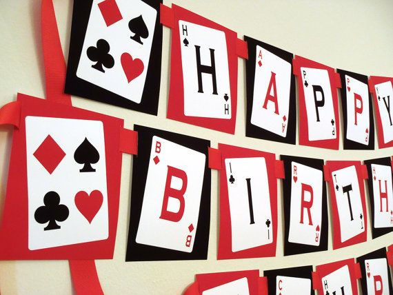 casino theme birthday banner