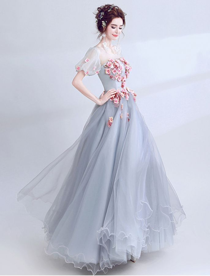 e2779ae19a8b 1930s Style Floral Sequin Long Prom Dress School Formal Ball Gown ...