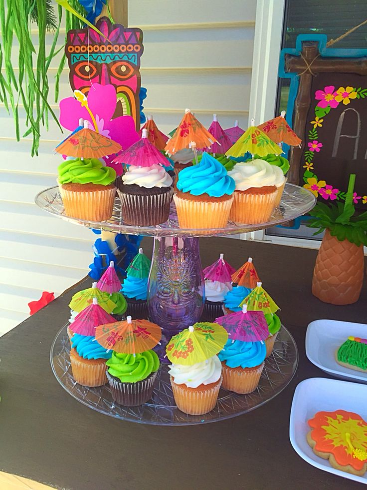 Luau Cupcakes   Handmade Stand More