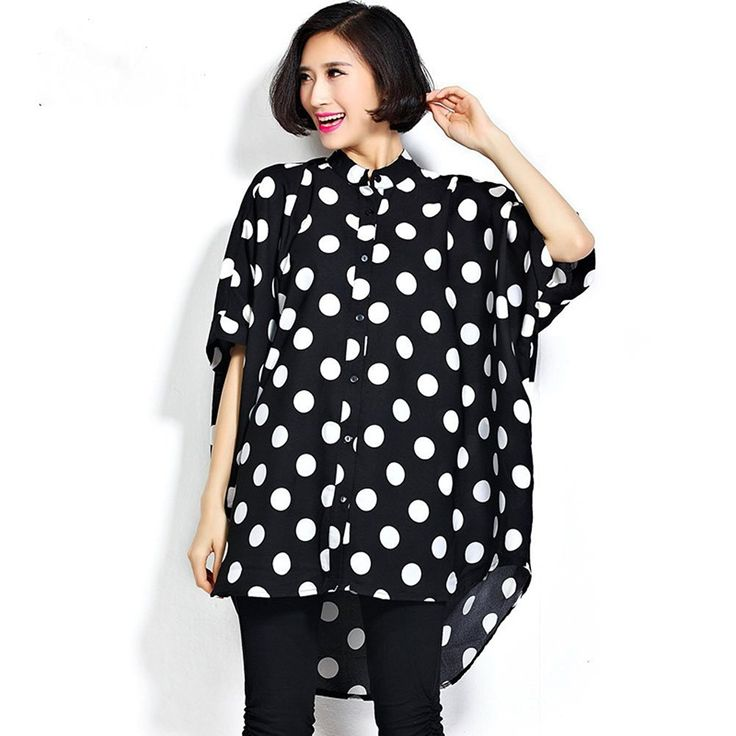 YJWAN Women Oversize Blouse Polka Dot Style Batwing Sleeve Super Loose Shirts ** Trust me, this is great! Click the image. : Plus size dresses