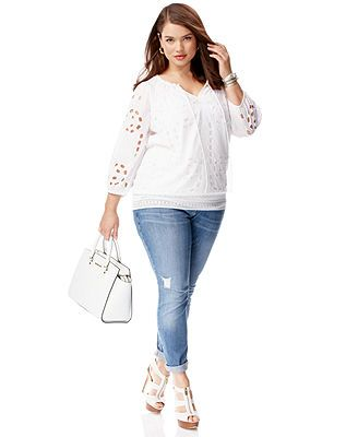Plus Size Spring 2014 Trend Report White Light Eyelet Blouse Look. Kinda like my creamy white sweater!