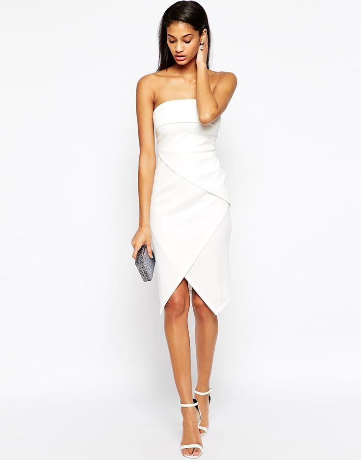 Bild 4 von ASOS – Asymmetrisches, trägerloses Kleid mit Falteneffekt