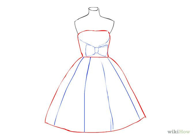 2/5. Draw a vertical line from top to bottom of the skirt ...