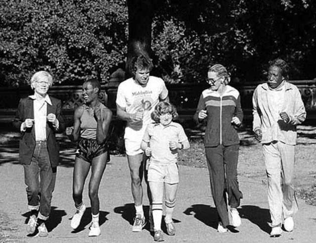 Andy Warhol, Grace Jones, Bill Boggs, Mason Reese, Dina Merrill and Gordon Parks jogging through New York's Central Park, 1978.