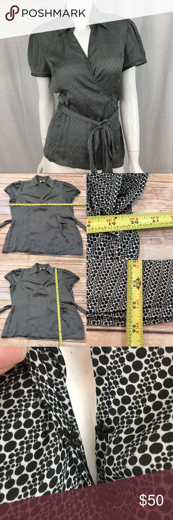 🍒LOFT 16 Short Sleeve Polka Dot Wrap Blouse Top Measurements are in photos. Normal wash wear, no flaws. A4/43  I do not comment to my buyers after purchases, due to their privacy. If you would like any reassurance after your purchase that I did receive your order, please feel free to comment on the listing and I will promptly respond.   I ship everyday and I always package safely. Thank you for shopping my closet! LOFT Tops Blouses