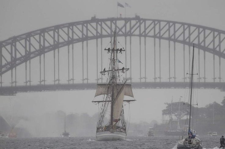 The Soren Larsen, a tall ship from Sydney, sails into the harbour in readiness for the celebrations for the Australian Navy's 100th birthday. October 5th, 2013.