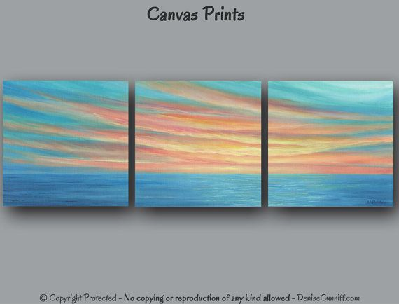 Sunset painting Yellow teal coral home decor Seascape