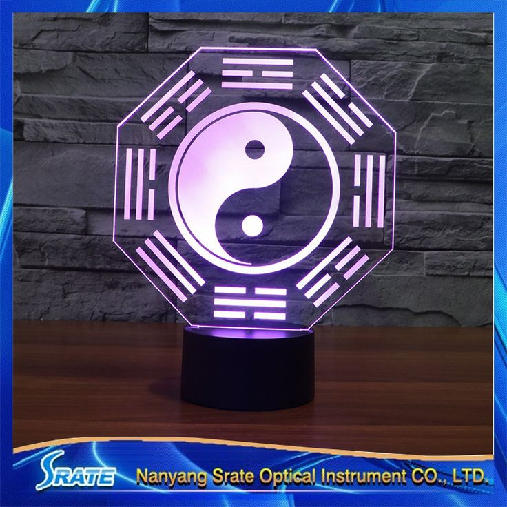 3D Vision Chinese Culture Ba Gua Eight Diagrams 7 Colorful Gradients LED Acrylic Plate Desk Lamp Bedroom Decoration Night Light #Affiliate