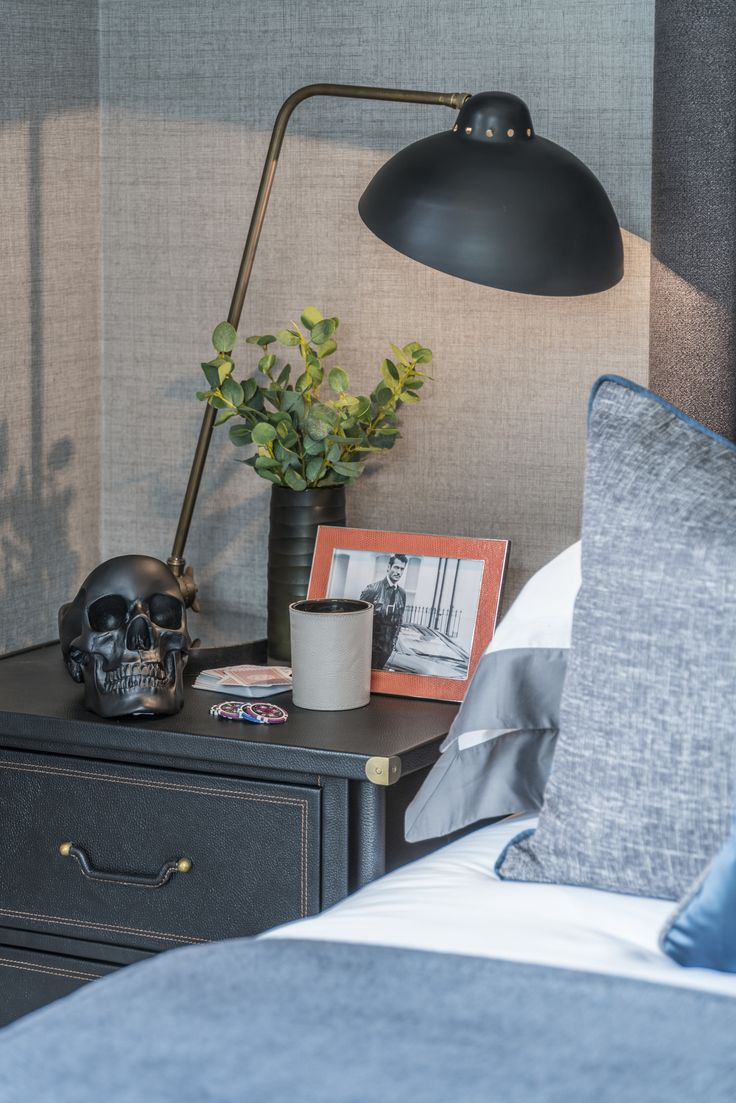 Balancing grey and black tones within our contemporary interior design of this teenager's bedroom, we added twists of style with occasional splashes of vibrant colour and depth with this trendy textured wallpaper.