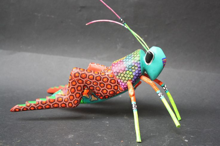 MEXICAN CRICKET INSECT ANIMAL FIGURE SCULPTURE HANDPAINTED WOODCARVING FOLK ART  | eBay