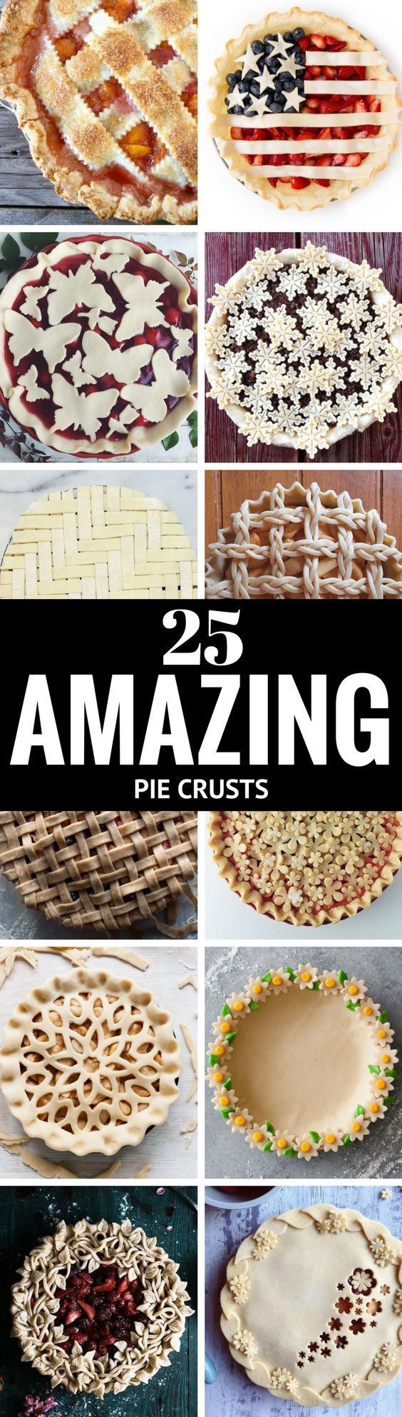 25 Amazing Pie Crusts ~ prepare to be awed and inspired by these epic examples of pastry genius, and just in time for pie baking season...so tie on your aprons and let's get rolling...   dessert   pie   Holdiday desserts   baking   #dessertfoodrecipes